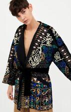 Zara Black Velvet Embroidered Kimono Size Medium 7521/280