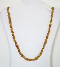 "Amber (Imitation) Glass Chip Beads Strand Necklace.  33"" Long.  NWT AMBI"
