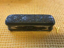 More details for antique 1895 forbes silver quadruple rectangular silk lined box monogrammed acb