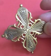 Abstract Design Finland Signed Denmark Vintage Ladies Brooch Bronze Gold Tone