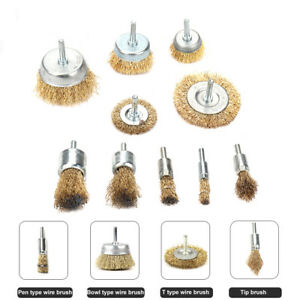 """10Pcs Brass Coated Steel Wire Cup Brush Wheel 1/4""""Shank Polishing Rust Removal"""
