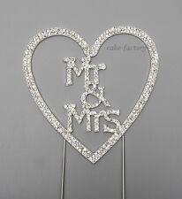 MR & MRS  CAKE PICK TOPPER DECORATION  DIAMANTE SPARKLY WEDDING CAKE TOPPER