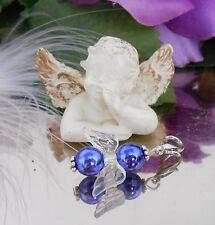 Blau Schutzengel Charms Anhänger f. Kette o. Armband mit Karabiner - Engel -