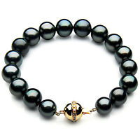 Pacific Pearls® 10-12mm Tahitian Black Pearl Diamond Bracelet Gifts For Daughter