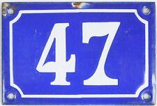 Old blue French house number 47 door gate plate plaque enamel steel metal sign