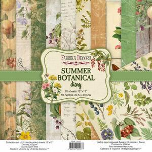 "12"" x 12"" scrapbooking paperpad cardstock Summer Botanical 10 sheets + 1 bonus"