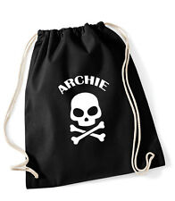 Personalised pirate PE bag, cotton gym bag/drawstring rucksack,red/blue/black