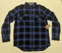 Vans Off The Wall Men's Box Long Sleeve Plaid Flannel Shirt NWT Size Medium Blue
