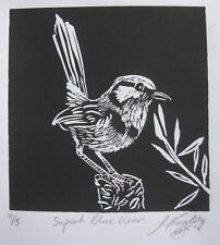 "LYNN KEATING AUSTRALIAN BLACK INK LINOCUT ""SUPERB BLUE WREN"" 2015"