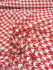 """Ivory RED Print Houndstooth Chiffon Fabric 60""""W BTY Drape Craft Tablecloth"""