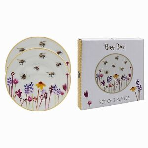 Set of 2 Busy Bees Design Round Fine China Dinner Serving Dishes Dining Plates