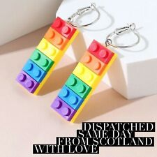 Rainbow LGBT pride Acrylic Building Block Toy Style Dangle Drop Earrings