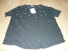 BNWT PULL & BEAR NAVY BLUE PEARL EMBELLISHED CREW NECK SHRED DETAIL TOP SMALL
