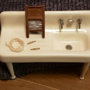 Dollhouse Miniature Porcelain Kitchen Sink with WashBoard ,Clothes Line & Pins
