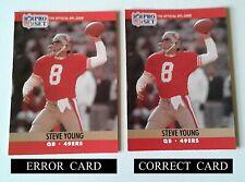 """1990 PRO-SET NFL STEVE YOUNG #645 ERROR & CORRECT CARD BROKEN """"L"""" IN (ALSO) BACK"""