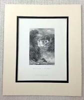 1872 Antique Engraving Swallow Falls Wales Rhaeadr Ewynnol Welsh Landscape Print