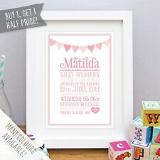 Personalised Baby Print Girl Boy Birth Details Nursery Art Heart Bunting Gift