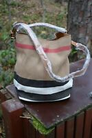 Auth Burberry Ashby Medium Canvas Check Tote Bag-Saddle Brown, with dust bag