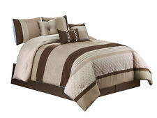 7P Bailey Comforter Set |Geometric Quilts Pleated Stripe|Brown Taupe Beige|King