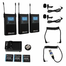 2.4GHZ Dual Channel Wireless Stereo Microphone for DSLR Camcorder Canon Nikon