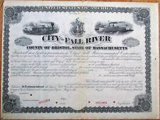 City of Fall River, MA 1870 Large SPECIMEN Bond Certificate - Railroad/Riverboat