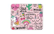 Stay Wild Pink Unicorn Mouse Mat Pad - Flamingo Daughter Computer Gift #15277