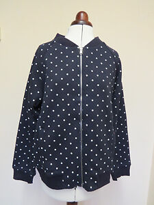 Boden Bomber Jacket- Navy With Small White Polka Dot Pattern- Size 12 or 14