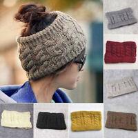 Womens BeanieTail Messy Bun Ponytail Skull Knitted Winter Beanie Hat Cap Lot~