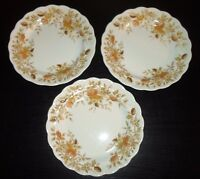 "(3) Ridgway Ironstone ANTIQUE ROSE 7 3/4"" Salad Plates   England"