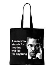 Malcolm X Man Quote Cotton Shoulder Bag - Black Panthers Civil Rights