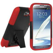 AMZER BLACK/ RED RUGGED HYBRID CASE KICKSTAND FOR SAMSUNG GALAXY NOTE 2 II N7100