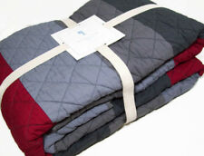 Pottery Barn Kids Multi Color Red Gray Color Block Stripe Full Queen Quilt New