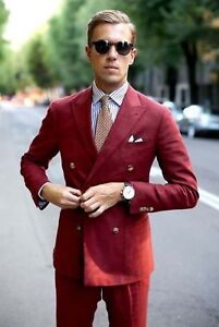 Men Red Designer Wedding Grooms Double Breasted Dinner Casual Suit (Jacket+Pant)