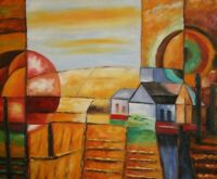 Abstract cubist landscape oil painting signed