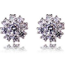 Acabado en oro blanco pendientes brillantes estrella/flor tachuelas calidad joyas vendedor del Reino Unido
