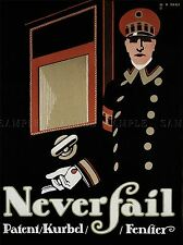 COMMERCIAL ADVERT NEVER FAIL WINDOW CRANK GERMANY POSTER ART PRINT BB1941A