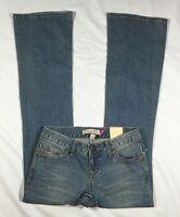 NWT Women's Aeropostale Light Wash Skinny Flare Denim Jeans-Size 1/2