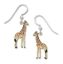 Etched Brass and Sterling Silver Sienna Sky Giraffe Dangle Earrings, Handpainted