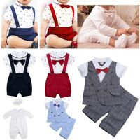 Toddler Baby Boys Bowtie Romper Bodysuit Baptism Outfit Party Wedding Clothes