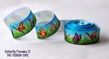 "Butterfly Blue printed grosgrain ribbon 38mm 1.5"" wide 2 metres"