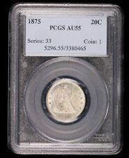 1875 TWENTY CENT SILVER US COIN PCGS AU55 #80465