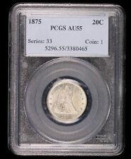 1875 TWENTY CENT SILVER US COIN PCGS AU55 #80465