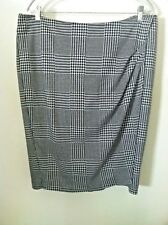 Black white 18 skirt check houndstooth faux wrap sarong pencil thick knee length