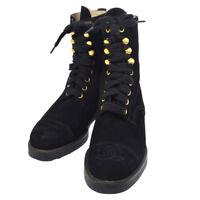 Authentic CHANEL Vintage CC Logos Short Boots Shoes Black Suede #36 JT06680c