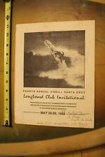 O'NEILL Longboard Club SANTA CRUZ Steamer Lane Vintage 1988 Surf Contest PROGRAM