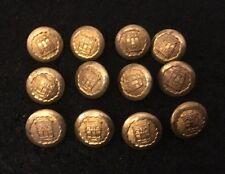 12 X Vintage 16mm Gold / Gilt Crest Crested Buttons Blazer Uniform Livery