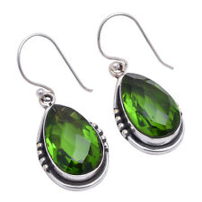 925 Sterling Silver Overlay Earrings, Peridot Gemstone Fashion Jewelry PE565