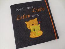 Schwangerschaftstagebuch Wollfilz Tagebuch Buch Schwangerschaft bestickt Katze