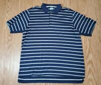 ADIDAS MENS GOLF POLO SHIRT CLIMACOOL BLUE STRIPES SIZE LARGE EUC