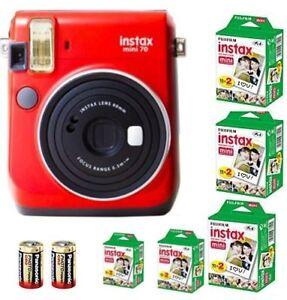 Bundle: Fuji Instax Mini 70 Instant Camera Red +100 Films+ 2x CR2 Battery